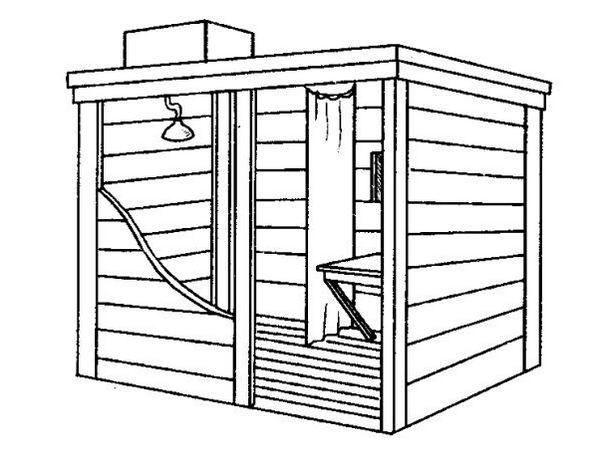 деревянный душ с раздевалкой