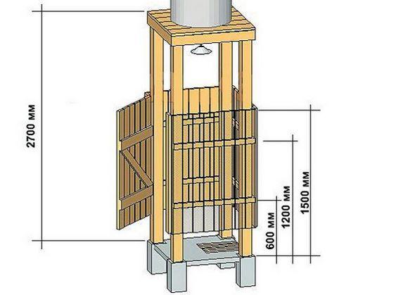 чертеж деревянного душа с баком