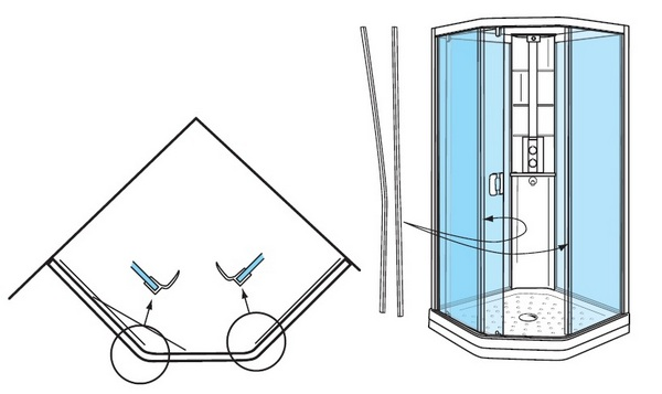 уплотнители для стекол душевых кабин