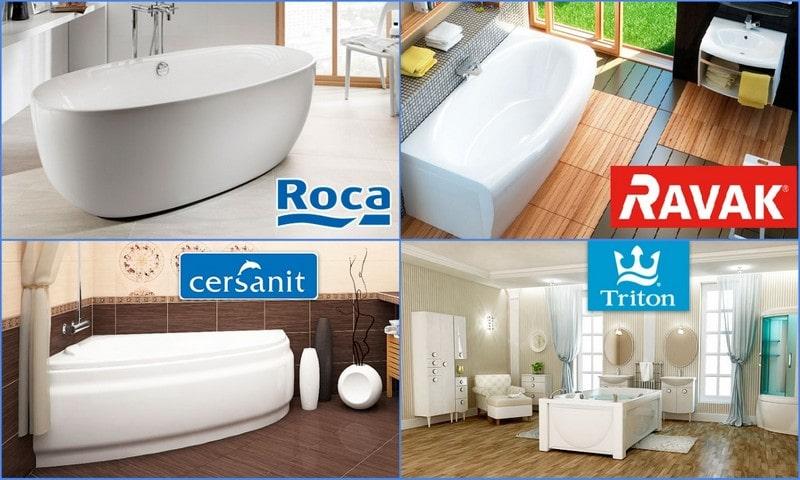 популярные производители акриловых ванн